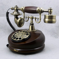 Wholesale novelty Mechanical bell rotating swivel plate old style antique telephone wooden vintage telephones