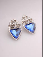 Stud blue jade earrings - New Party Dress Arrival Jade Blue Gold Plated Crystal Geometric Vintage Charm Stud Earrings for Women in Jewelry Accessories