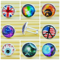Wholesale 2014 New fashion Galaxy Cufflinks Peace Evil Eye Anchor Dragonfly Peacock Custom Glass Cabochon Men Cufflinks With Gift Boxes