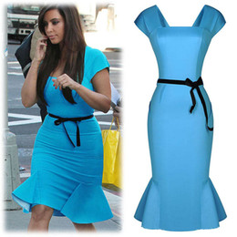 Wholesale Nouveau à manches courtes Sexy Ladies Kim Kardashian Celebrity Blue Sky Falbala Vintage Femmes Summer Party Bodycon Robe crayon Mermaid plus siz