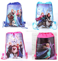 Wholesale Retail styles frozen drawstring bags non woven bags Anna Elsa backpacks handbags children school bags kids shopping bags cute present