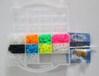 Girls rainbow loom rubber band - Hoot rainbow loom kit clear plastic box for Kids DIY bracelets come with Rubber bands S clip Loom hook PVC