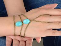 Wholesale Women Metal Hand Harness Chain Turquiose Bead Slave Finger Ring Fashion Bracelet JB06120