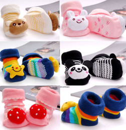 Wholesale Hot in Sales Baby Kids Gift D Cartoon Cotton Anti slip Socks Sock Slipper Boots Size Months fx119