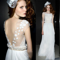 Wholesale Sexy Chinese Factory Custom Made Backless A line Tulle Scoop Cap Sleeve Wedding Dress Bridal Gown