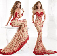 Reference Images Sweetheart Tulle Tarik Ediz 2014 Formals Pageant Prom Dresses Evening Gown Red Nude Appliqued Sheer Neckline Back Mermaid Court Train Evening Dresses FH079