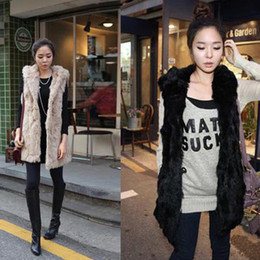Wholesale Womens Fashion Casual Faux Rabbit Fur Hooded Thickened Long Vest s M L