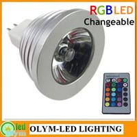 Wholesale 5X W LED MR16 RGB Remote Control V E27 GU10 Spot Bulb V Color change key IR Remote memory effect