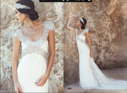 Wholesale 2014 Anna Campbell Summer Beach Lace Wedding Dresses Scoop Neckline With Gorgeous Crystal Back Bow Embellishment Chapel Train