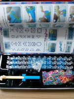 Wholesale Rainbow Loom kit Silicone Rubber bands S clips Hook shell box packaged with Blue Box in stock
