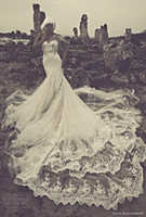 Wholesale Sexy Back Cathedral Train Chinese Factory Custom Made One Shoulder Tulle Lace Mermaid Applique Wedding Dress In Dubai Bridal Gown