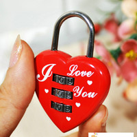 Wholesale I LOVE YOU Red Heart Password Lock MINI Cartoon Lock Novelty Padlock Combination Valentines Gift SH719