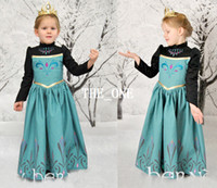TuTu Spring / Autumn A-Line long sleeve green dress elsa frozen cosplay dresses frozen elsa dress costume for girls elsa Coronation gown elsa cosplay gown anna dress