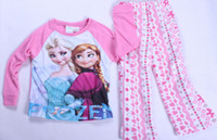 Wholesale Frozen Elsa Anna girls long sleeve Knitting cotton top Fleece pants pyjamas pajama purple sets sleepwear Pjs frozen sets