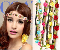 Wholesale Women Summer Beach Bohemian Flower Headband Festival Wedding Bride Floral Garland Hair Band Headwear Hair Accessor JH04019