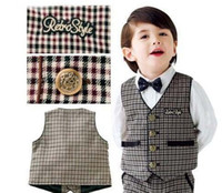 Wholesale 2014 New Arrival Back To School Baby Clothing Set Waistcoat Shirt Bow tie Shorts Boy Casual Suit Kids Gentleman Set GX569