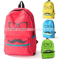 Wholesale S5Q Men Women Backpack Mustache Glasses Print Canvas School Book Campus Bag AAABXV