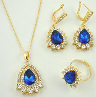 Wholesale sets in fashion jewelry set droplets crystal jewelry pc necklace pair earrings pc Ring Blue black clear