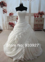 A-Line Model Pictures Sweetheart 2014 Latest Sweetheart Fuffle Real Model Wedding Dresses Organza Bridal Gown Custom Made Chapel Train Lace Up Back