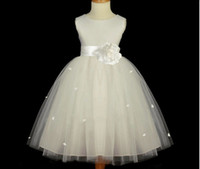 Real Photos Girl Ribbon 2014 hot flower girl dress for wedding kids princess dress new arrival with bow for child