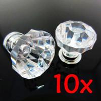 Wholesale 10x Clear Diamond Crystal bin Glass Pull Handle Cabinet Drawer Door Knob Screw