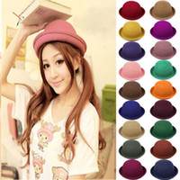 Wholesale 2014 New Fashion Lady Womens Vintage Style Cute Trendy Vogue Wool Bowler Derby Hat Cap fx222