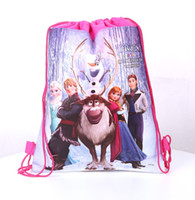 Wholesale The new for FROZEN double faced non woven fabrics draw string bag knapsack