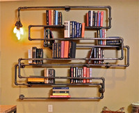 Wholesale American country to do the old industrial loft style wrought iron plumbing pipe wall mount racks personalized creative bookshel