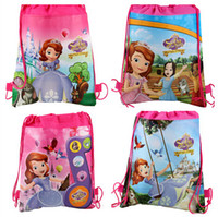 Wholesale Children backpacks sofia the first schoolbags boy girl cartoon bag environmental protection draw string bags handbag