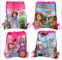 Wholesale Fashion bag Children backpacks sofia the first schoolbags boy girl cartoon bag environmental protection draw string bags handbag gift tote