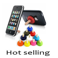 Wholesale 10 colors Rubber Toilet Sucker Stand Mobile Phone Holder and Stands Plunger Sucker