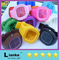 Fashion square fashion - Hot Fashion Square Jelly Watch Unisex Quartz Sports Silicone Wrist Watches Candy SS com DHL FREE