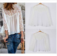 Long Sleeve Chiffon  2014 Summer Fashion Lace Blouses Women White Ladies Blouses Sexy Casual Girls Chiffon Blouse Womens Tops tank Plus Size Lace Tops Blouse HZ5