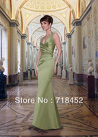 Reference Images Sleeveless Halter Custom Make Cheap Bridesmaid Dresses Halter Lime Green Stain A Line Floor Length Party Dresses SV330