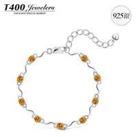 Charm Bracelets Women's Party New ! T400 brand jewelry,made with Natural Citrine ,for women,925 sterling silver,November Birthstone#3395,free shipping