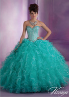 New 2015 Captivating Aqua Teal Sweetheart Beading Quinceaner...