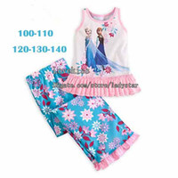 Wholesale Frozen Kids Pajamas Childrens Sleepwear Girls Pajamas Child Clothes Fashion Summer Tank Tops Long Trousers Girls Sleepwear Children Clothing