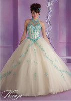 Style 2015 Wonderful Champagne Aqua Tulle Quinceanera Dress ...