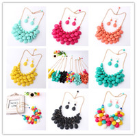 Wholesale Bohemian Bubble Tassels Statement Necklaces Chokers Chunky Bib Necklaces Multi Color With Earrings Personalized Jewelry XL633