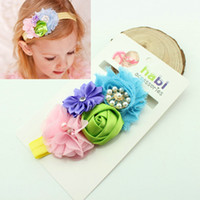 Headbands Lace Floral 15pcs lot in blister card children Rosebud sequined Bow Headband hair elastic baby BA114
