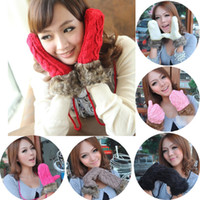 Wholesale Hot Sell fashion Hang Neck Winter Thick Mitten Knitted Warm Faux Fur Gloves Manual Weaving for Women Christmas Cute Gloves