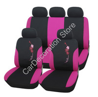 Wholesale New Polyester Pink Butterfly Embroidery Design Girly Front Rear Car Seat Covers Set Protector For Car Vehicle Universal