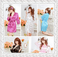 Wholesale Japanese Sexy kimono style dress women Sexy V neck lace solid Silk Sleepwear Pajamas woman robe sexy lingerie colors S2501