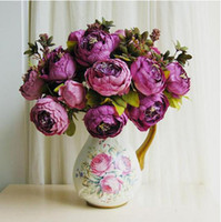 Wholesale 2014 New Pc Flowers Bouquet Peony Wedding Garden Artificial Silk Flower Decorative For Home Party Decoration