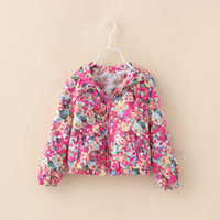 Wholesale 2014 Baby girls Cotton Rosette Floral Hooded Jackets Kids girl Autumn fashion hoodie outwear