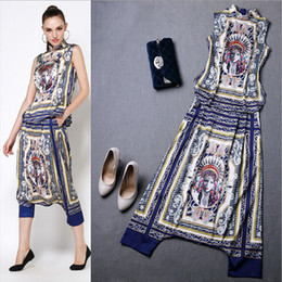 2014-2015 New Arrival Women's Stand Collar Pattern Printed Blouse with Harem Pants High Street Twinset Novelty Dresses