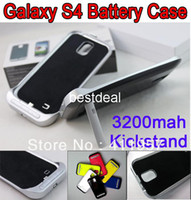 For Samsung Metal Case 3200mah Battery Case Back Up Back Cover Power Bank with Kickstand Emergency External Charger for Samsung Galaxy S4 i9500
