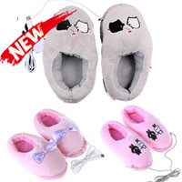 Wholesale Novelty items Gift Plush USB Foot Warmer Shoes Soft Electric Heating Slipper with Cute Bowknot Rabbits Pink Grey Piggy Gadget