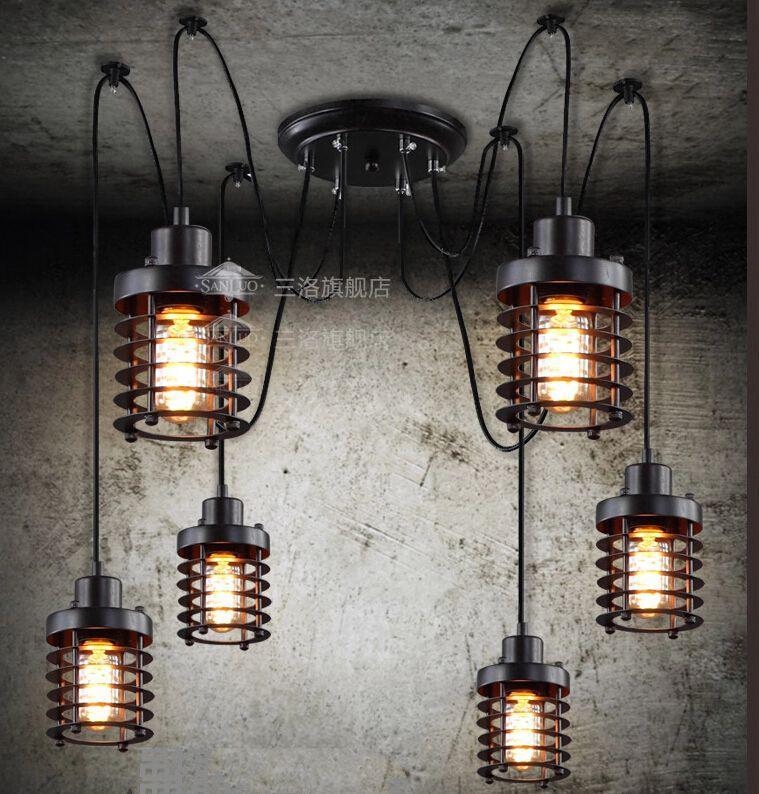 Vintage Wrought Iron Pendant Lamp Restaurant Pendant Lights Edison