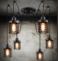 Wholesale Vintage Wrought Iron Pendant Lamp Restaurant Pendant Lights Edison bulbs heads Industrial Style Hanging Lighting Fixture
